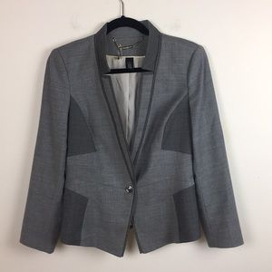 White House Black Market Color Block Gray Blazer